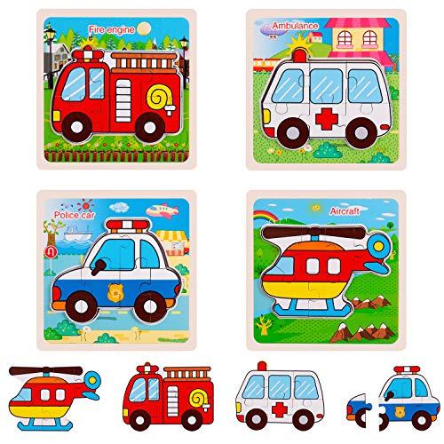 Juego de Rompecabezas de madera, Transporte Preescolares,Educativo de Colores, (4 Paquetes)