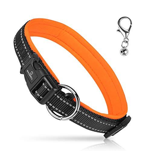 Collar de Perro Duradero y Reflectante, Ajustable , Fabricado de Nylon con Suave Acolchado, color Naranja