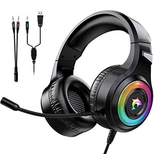 Cascos Gaming con RGB LED Bass Surround y Cancelación de Ruido Auriculares Compatible con PS4, PC, Xbox One, PS5