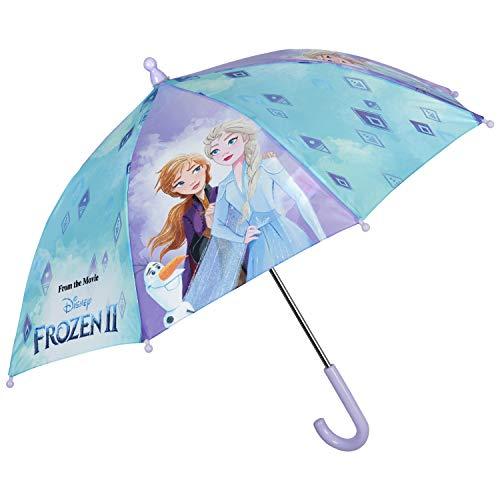 Paraguas Disney Frozen 2, Infantil de Cúpula con Estampado Princesas Elsa y Anna - Resistente, Antiviento y Largo - Apertura Manual. .