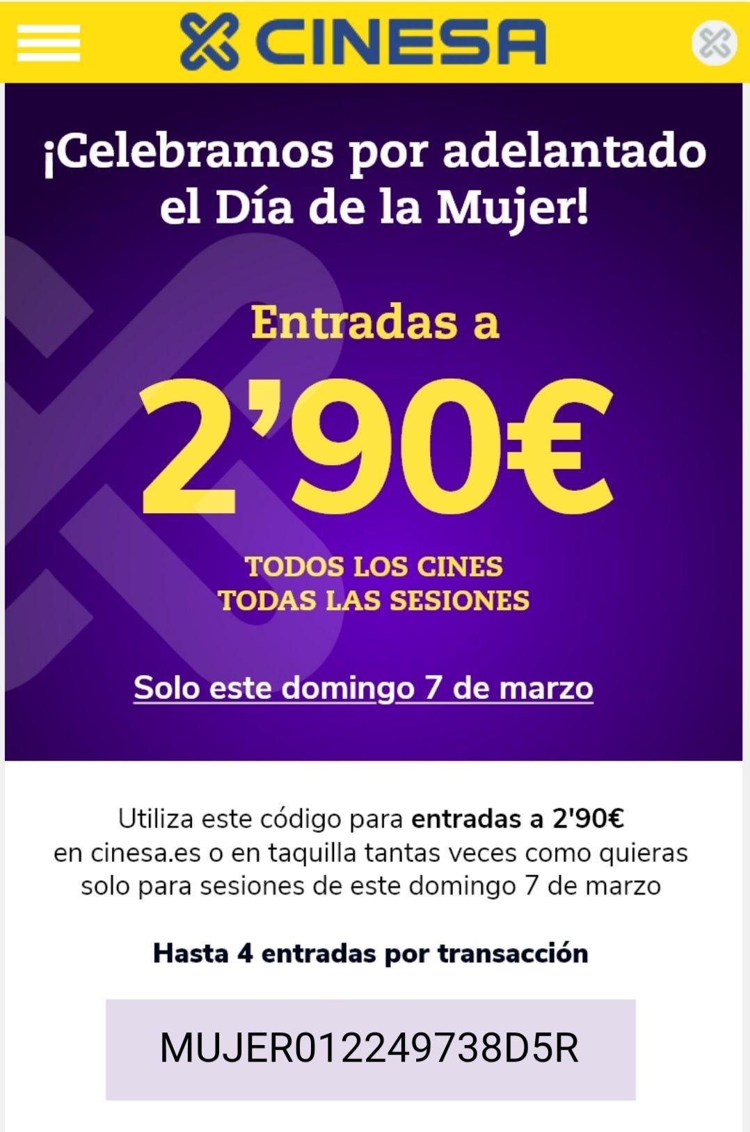 Entradas de cine 2,90€ (Cinesa)
