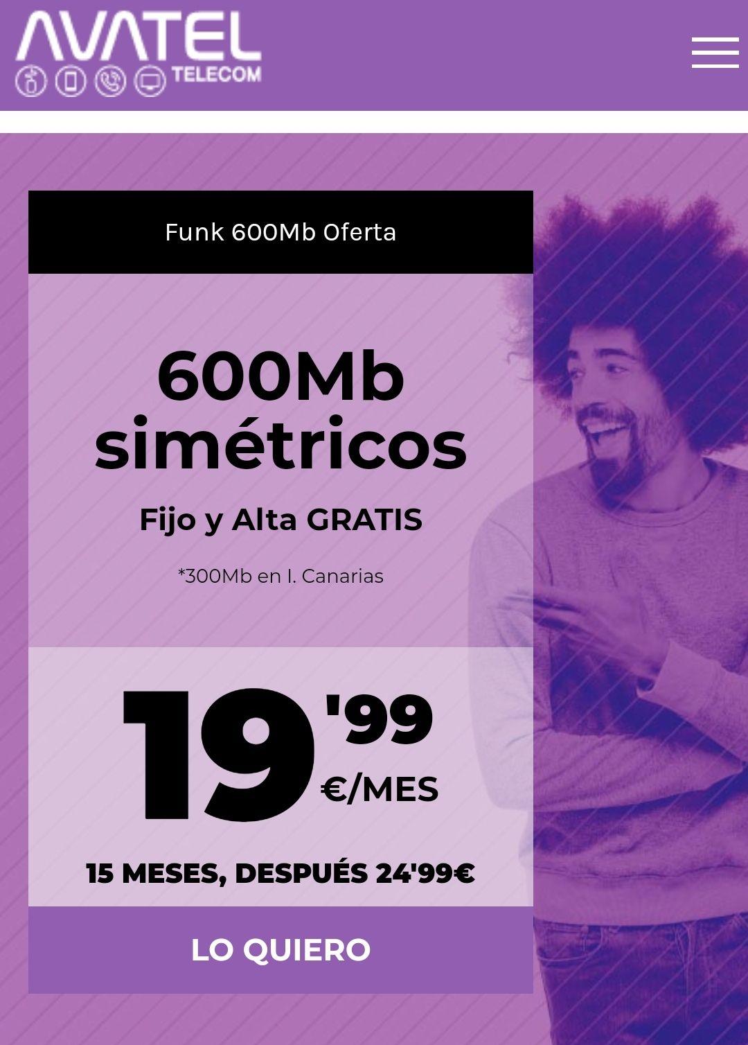 Fibra 600Mb simétricos por 19,99€ y alta gratis!