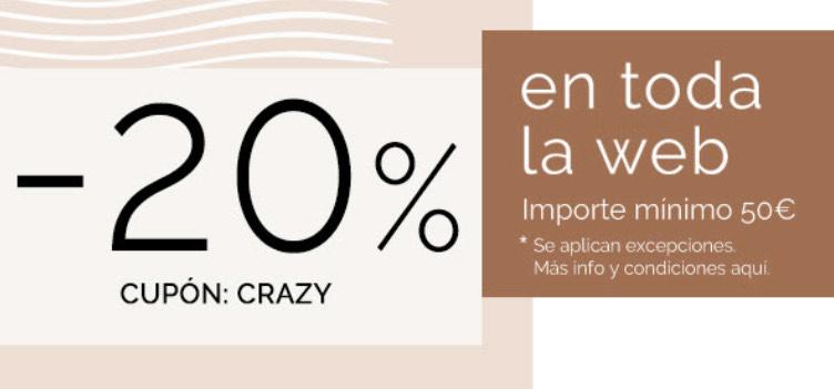 20% en toda la web en compras superiores a 50€ en maquillalia