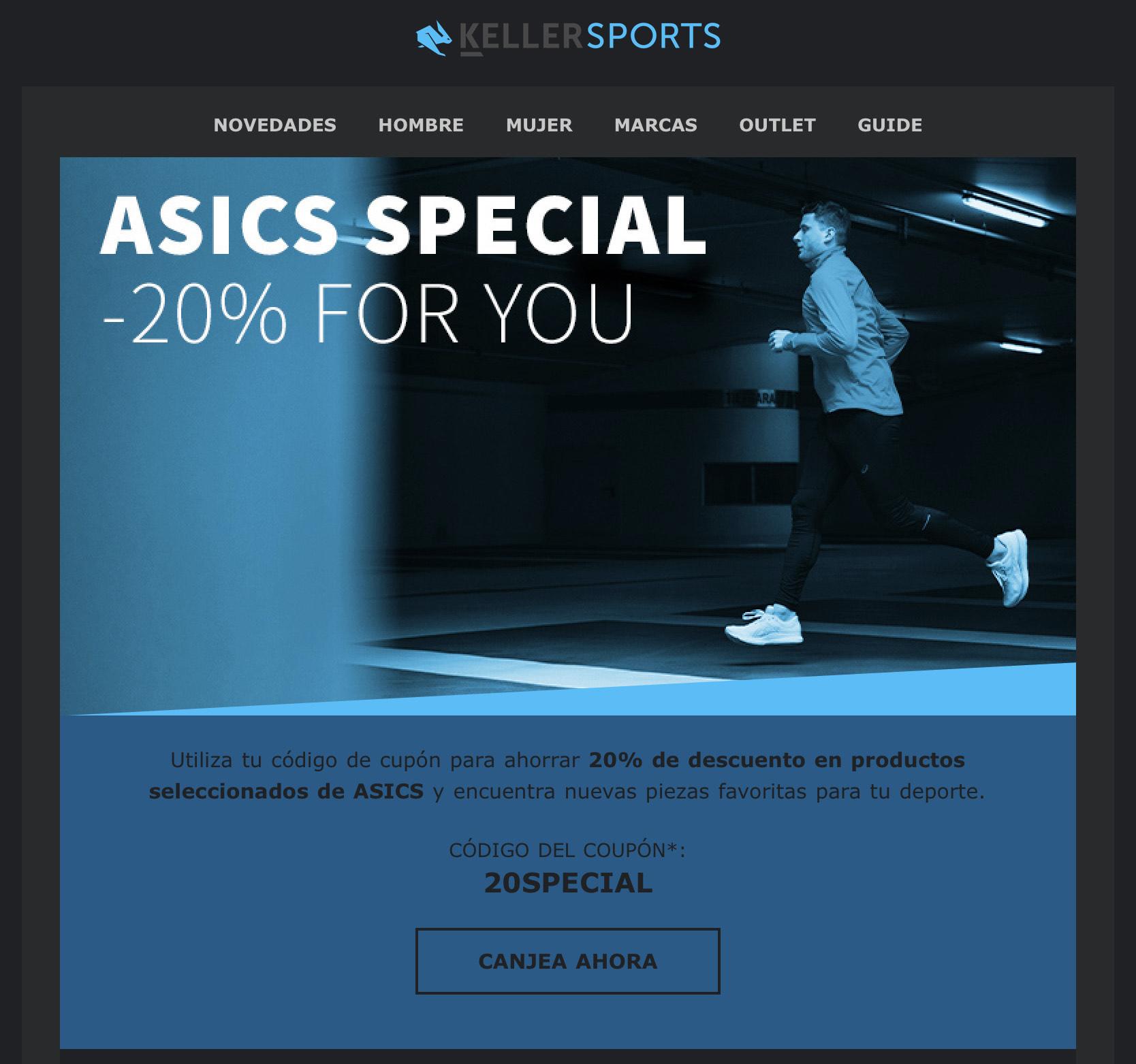 20% descuento en selección de productos ASICS