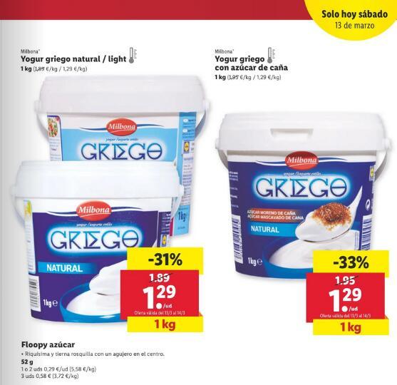 Yogur griego con azucar de caña, griego natural y light.