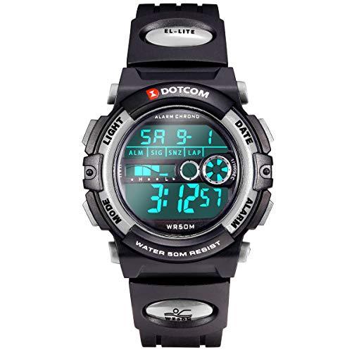 Reloj Digital para Niñ@s–5 ATM, Deportivo Impermeable,con Alarma, Cronómetro,Gris