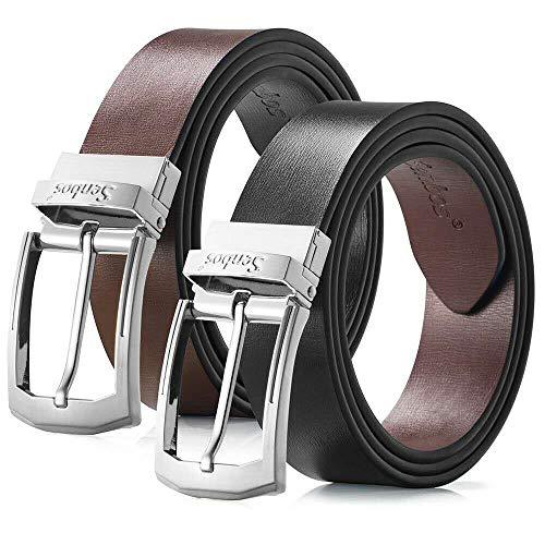 Cinturón Hombre, de Cuero, Reversible 35mm con Hebilla - Negro y Marrón