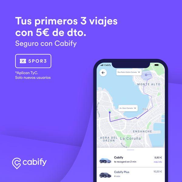 5€ en tus primeros 3 viajes de Cabify (nuevos usuarios)