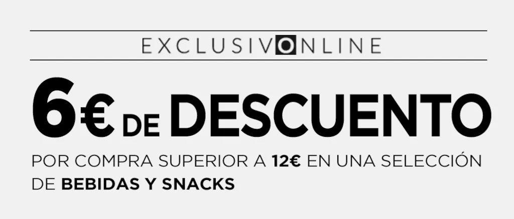 6€ de descuento por compra superior a 12€ en selección de snacks y bebidas