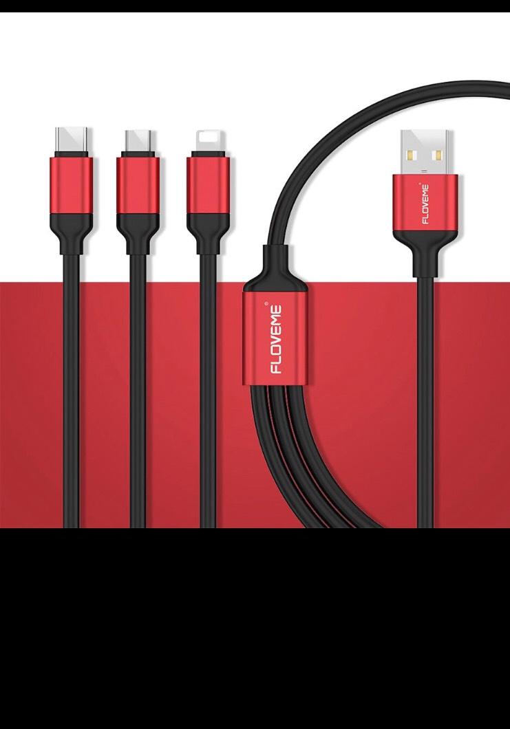 3 en 1 cable - Tipo C/Micro USB y Lightning