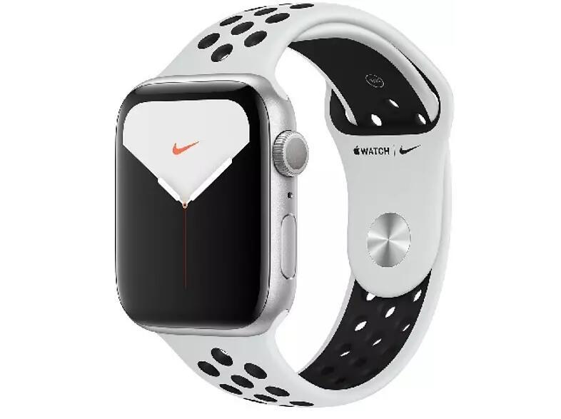 Apple Watch Nike Series 5, Chip W3, 44 mm, GPS, Caja aluminio plata, Correa Nike platino y negro