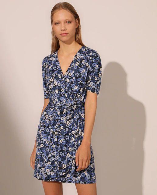 Vestido cruzado de flores en azul o Rosa Fórmula Joven
