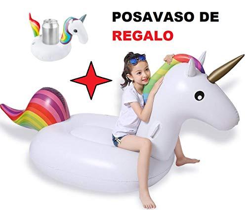 Hinchable grande Unicornio 180cm + posavasos mini Unicornio