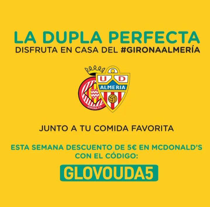 5€ de descuento Glovo McDonald's Almeria (mínimo 10€)
