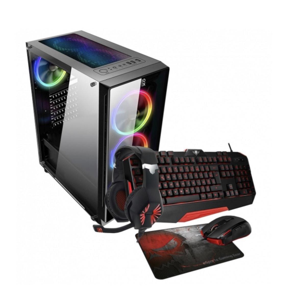 CPU Primux IOX Gaming con Ryzen 5, 8GB, 1TB + 240GB con Teclado, Ratón y Auriculares Gaming