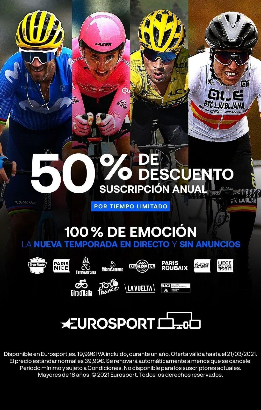 Suscripción Anual Eurosport -50%