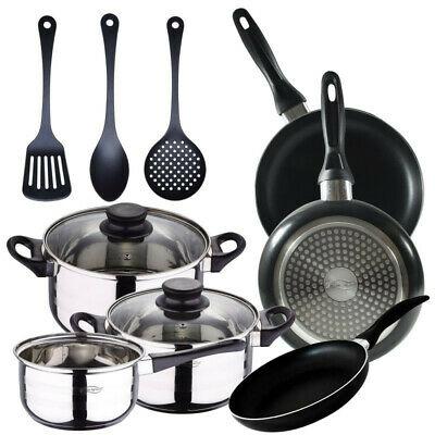 Set San Ignacio Premium: Batería de cocina 5 piezas + 3 sartenes aluminio prensado + 3 Utensilios de cocina