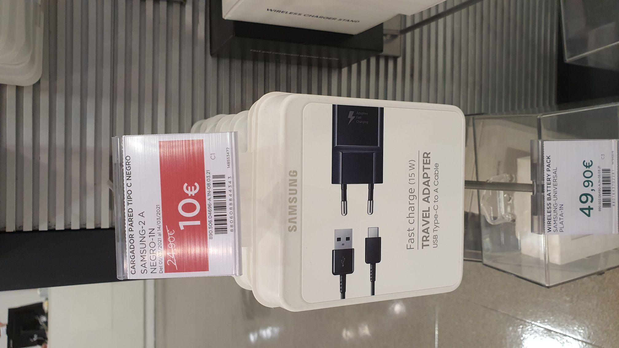 Cargador mas Cable Tipo C Samsung 15W en el corte inglés Parquesur (Madrid)