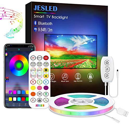 Tira LED 3M, Luces RGB Retroiluminación con Control App, Con 29 modos, 16 millones de colores , adecuado para TV de 45-60 pulgadas