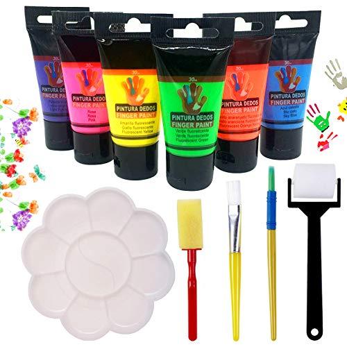 Pack de 6×30ml Botes de Pintura de Dedos para niños, Lavable no tóxicas, de Color Natural y ecológico, Incluido:Cuatro Pinceles, una Paleta