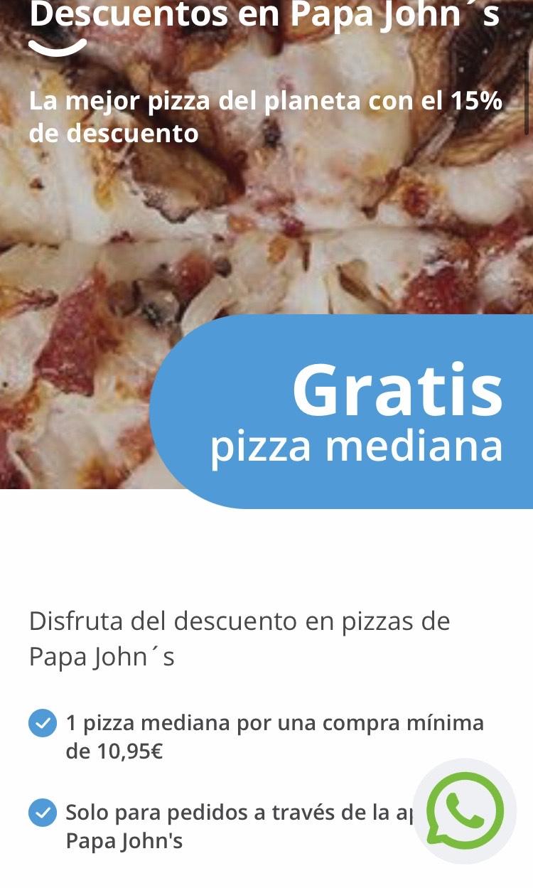 Con Mutua Pizza mediana Gratis Papa john's