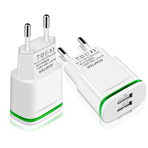 LUOATIP Cargador USB, 2.1A 5V ( 2 unidades )