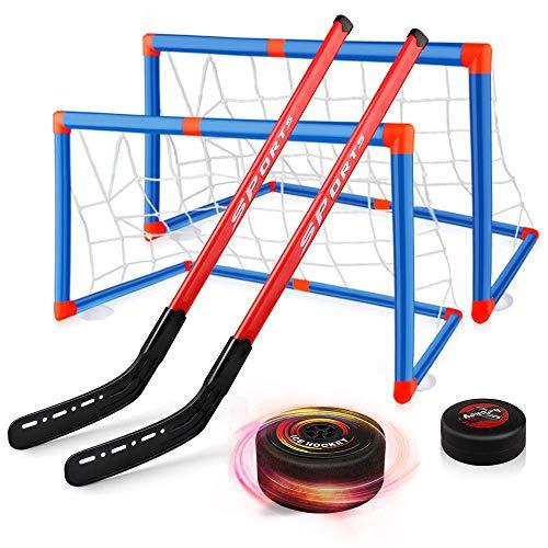 Juguete de Hockey Flotante,con Pelota aéreo, con 2 Porterias y 2 Palos.