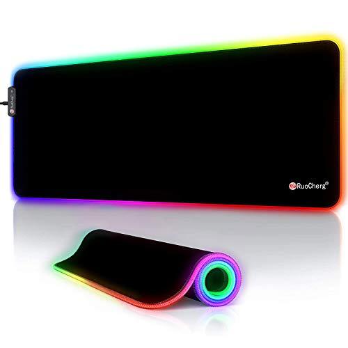 RuoCherg Alfombrillas de Ratón RGB, 12 Modos Led Gaming Mouse Pad con Superficie Impermeable