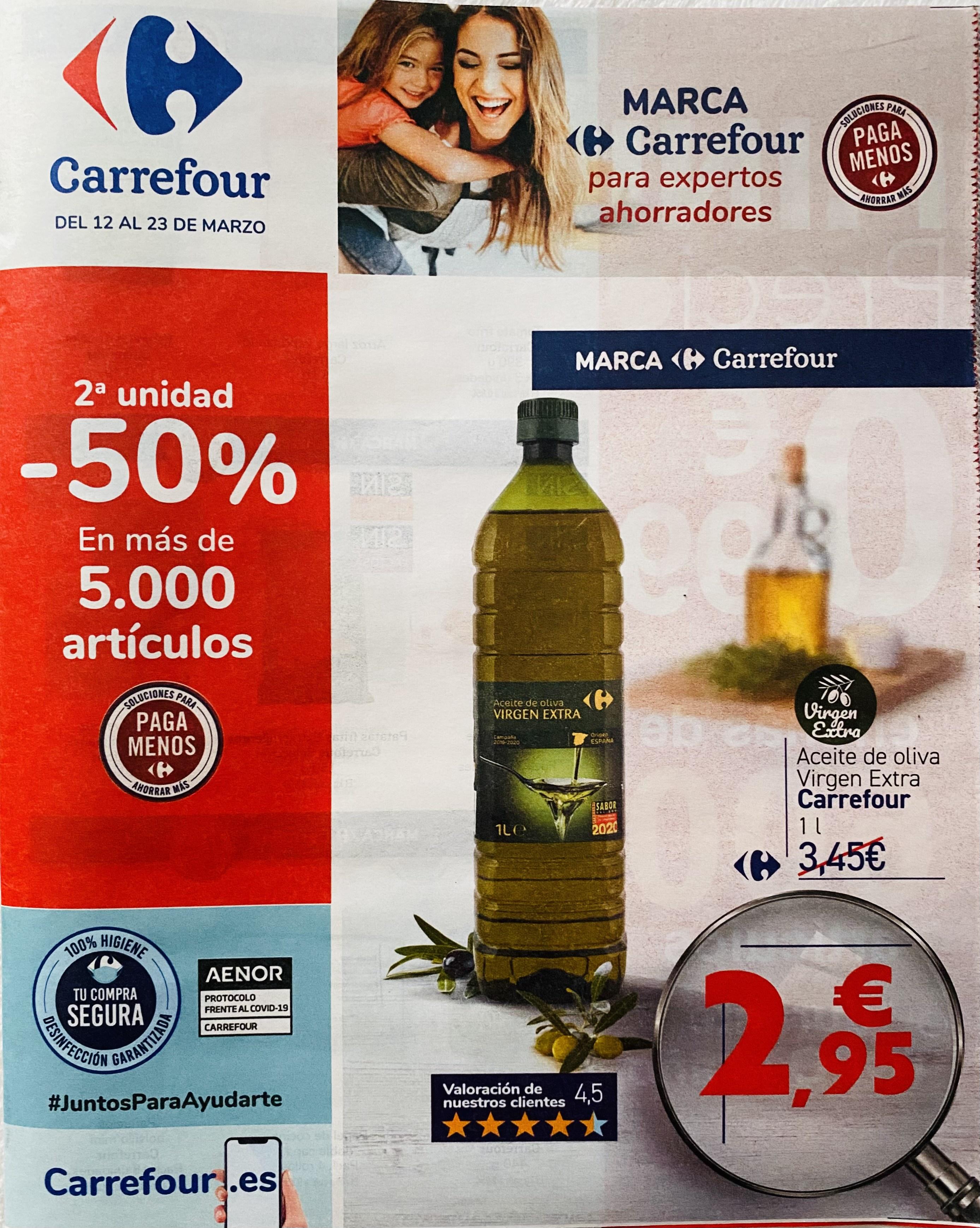 [Carrefour] 2ª unidad -50% de descuento. Del 12 al 23 de marzo.