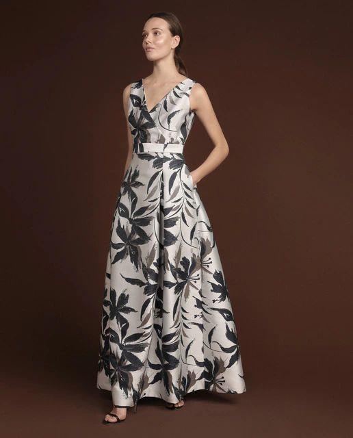 WOMAN FIESTA EL CORTE INGLÉS Vestido largo con jacquard floral