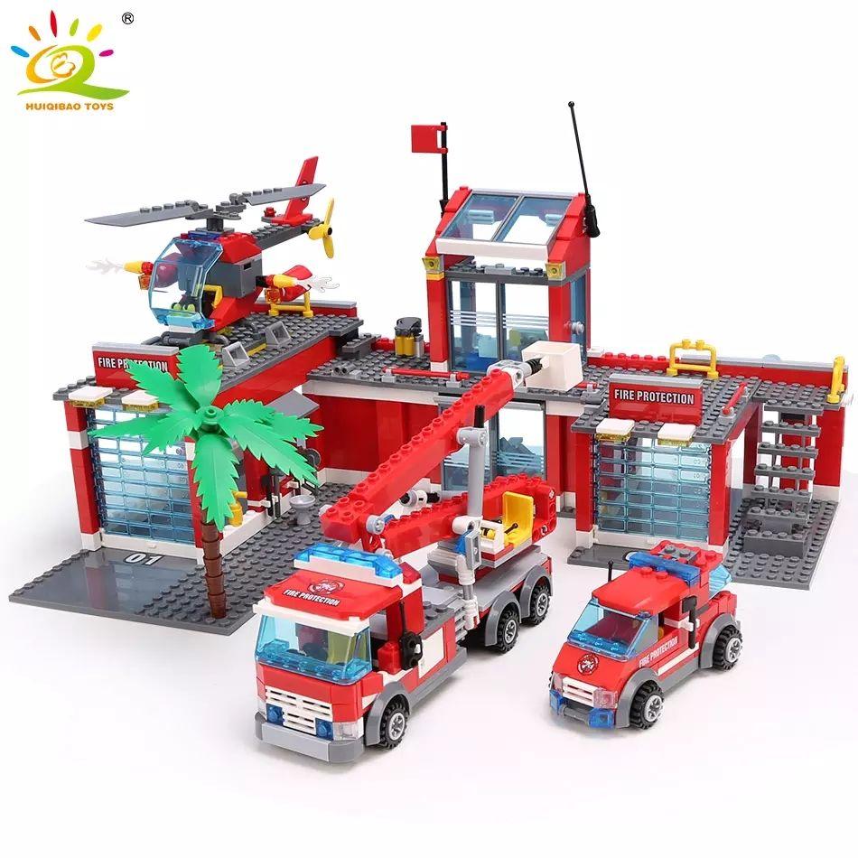 HUIQIBAO-estación de bomberos en miniatura para niños, 774 Uds