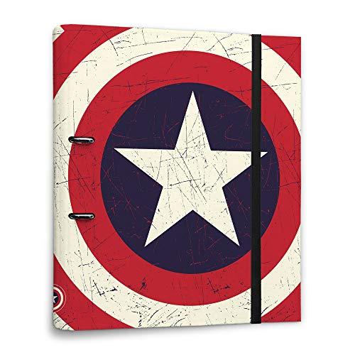 Carpeta 2 anillas troquelada premium Escudo Capitán América,