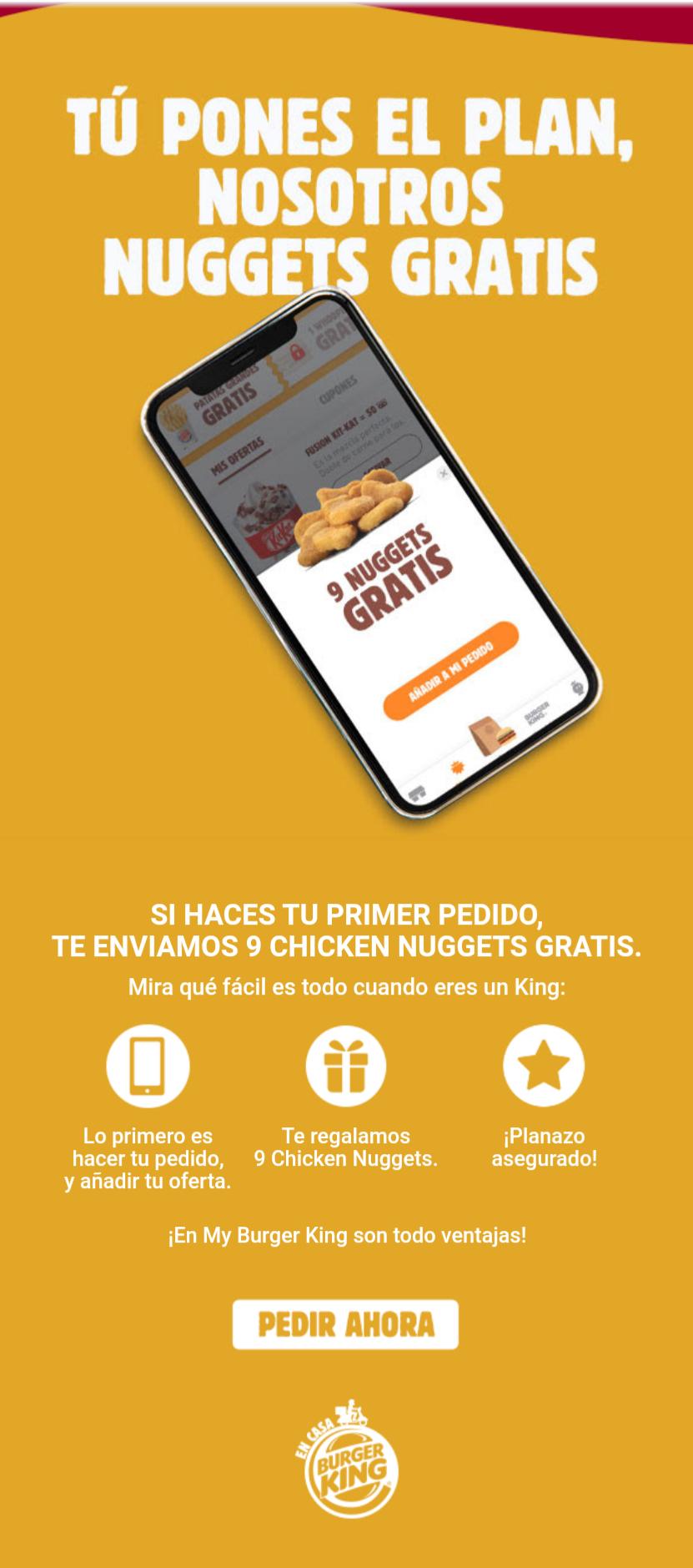 9 Nuggets gratis en tu primer pedido en Burger King