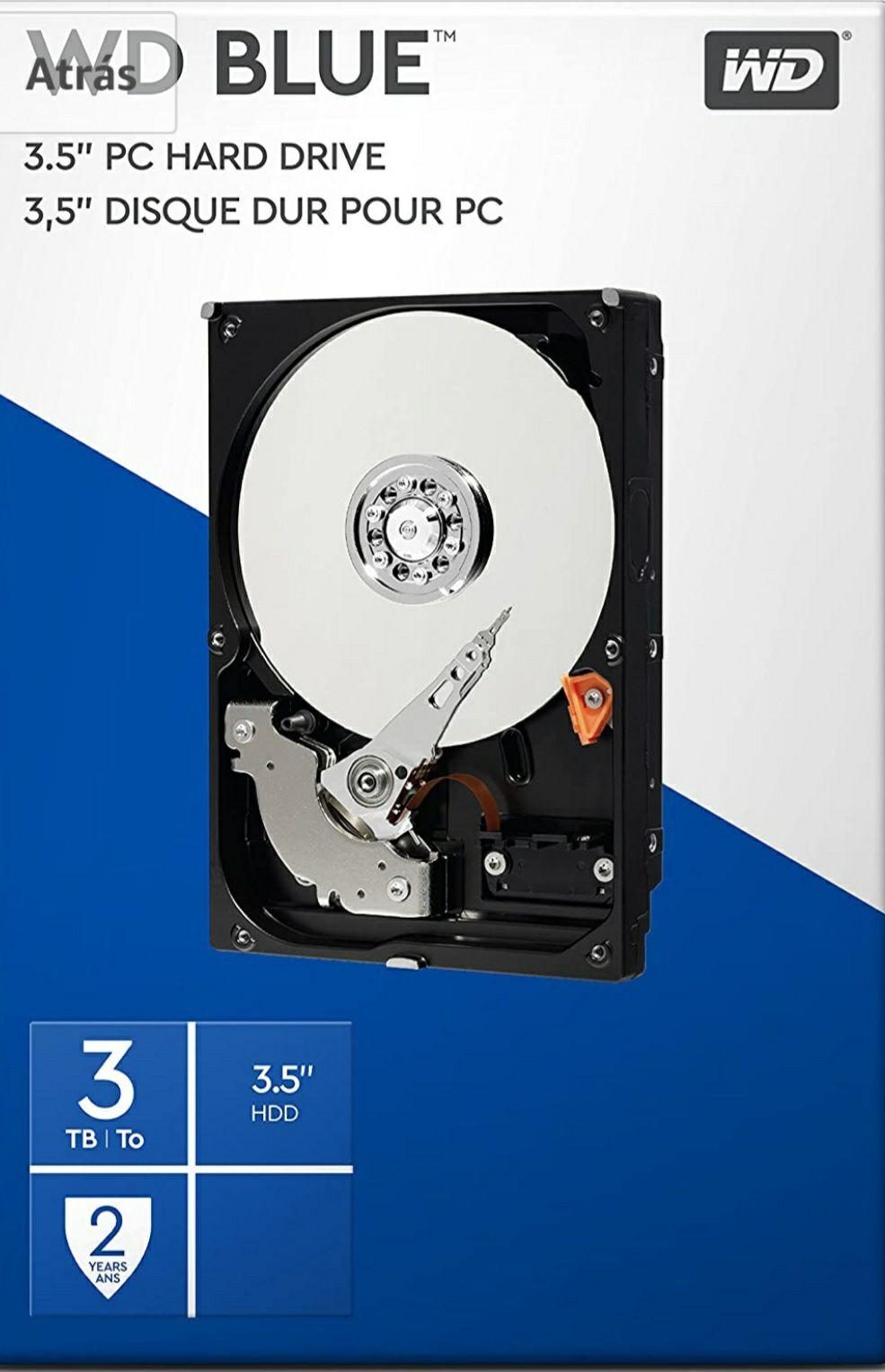 WD Blue 3TB 3.5 pulgadas Disco Duro Interno, Clase de 5400rpm, SATA 6 Gb/s, 64MB Cache