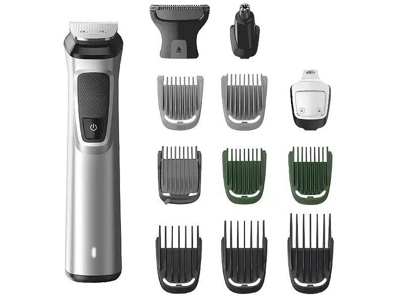 Afeitadora - Philips MG7715/15, Multifunción, Cara/cuerpo/cabeza, 13 en 1, Seco y húmedo, Plata