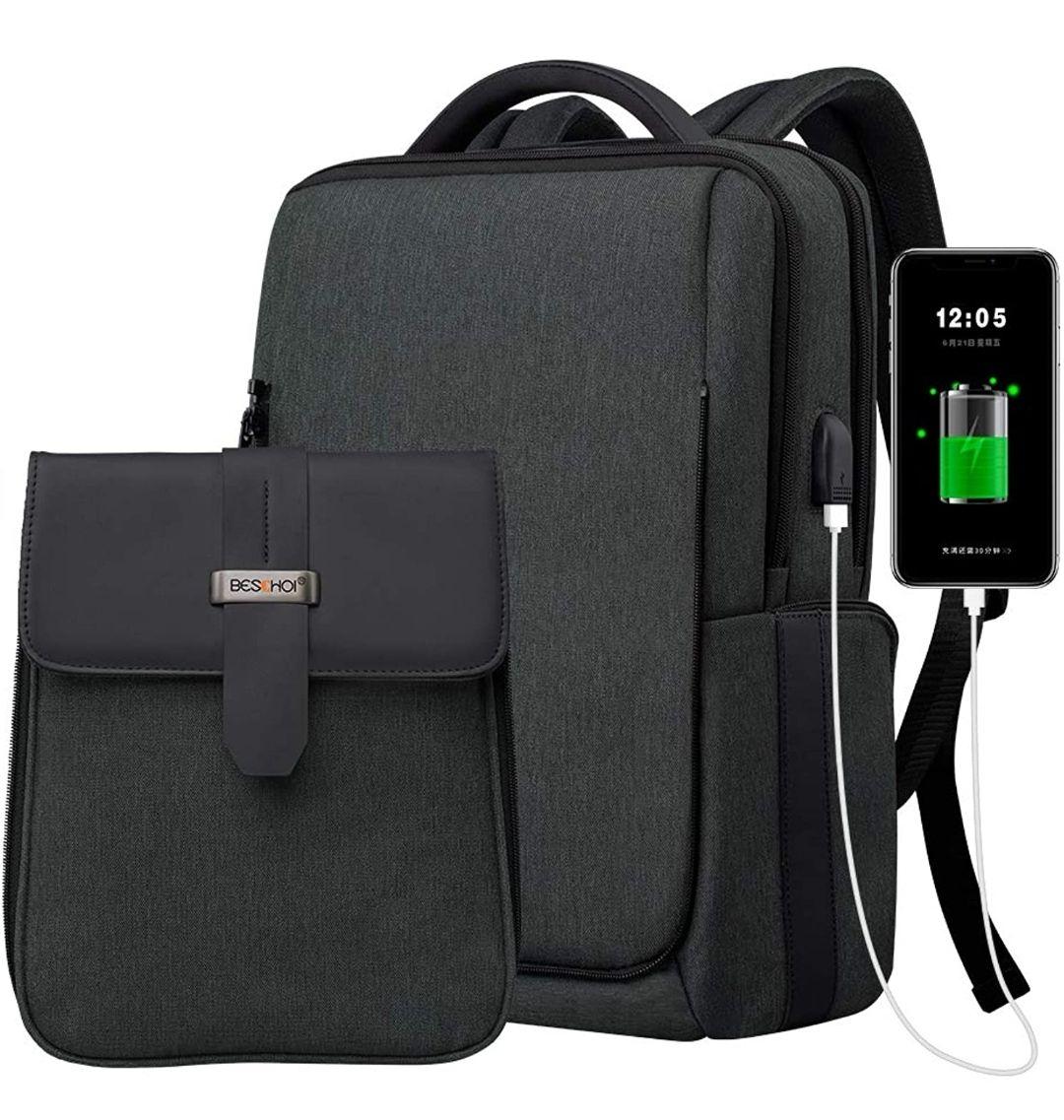 Mochila antirrobo para portátil, impermeable,puerto USB.(mini recoo) descripción.