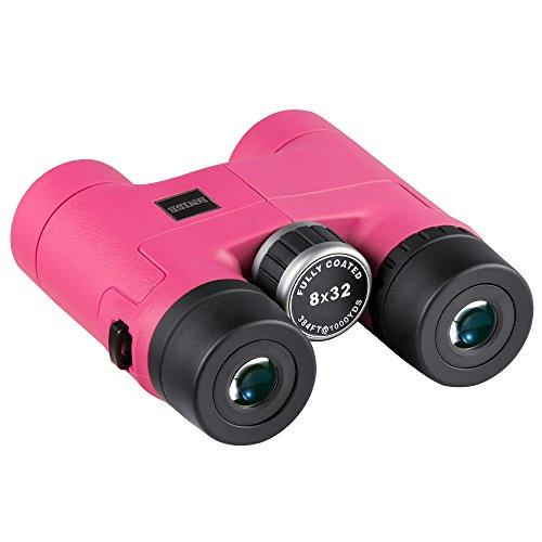 BNISE® - 8x32 Prismáticos Compacto y ligero - Cuerpo de aleación de magnesio - Totalmente Recubrimientos ópticos múltiples y Fase Recubierto Prismas BAK-4 - Brillante y sin Distorsiones de Imagen - Color rosa