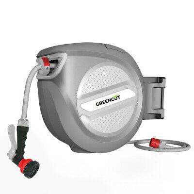 Manguera + enrollador automatico + soporte pared 10 METROS GREENCUT