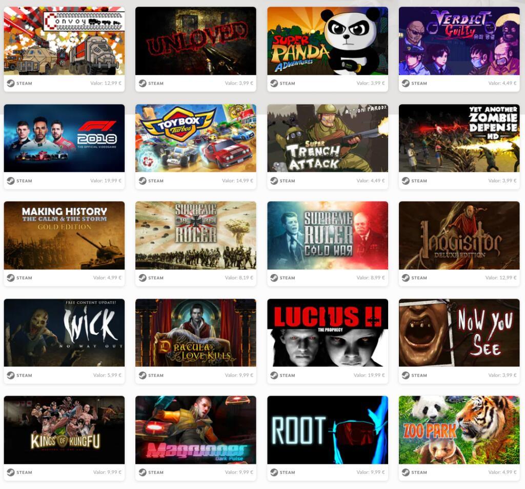 20 juegos Steam a 2,99€