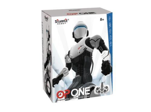 Robot - World Brands Robot Op One, LED de ojos, Blanco y negro