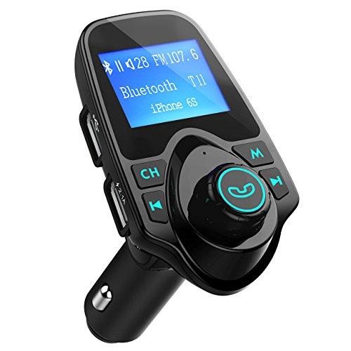 Manos Libres Bluetooth Transmisor FM Coche de VicTsing, Reproductor MP3 Coche, Adaptador de Radio de 1,44 Pulgadas Cargador de Coche de USB-Negro