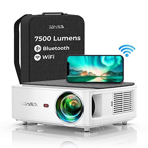 Proyector WiFi Bluetooth 1080P, YABER V6 7500 Lumens Proyector. WiFi Full HD 1920x1080P Nativo Soporta 4K, Ajuste Digital de 4 Puntos