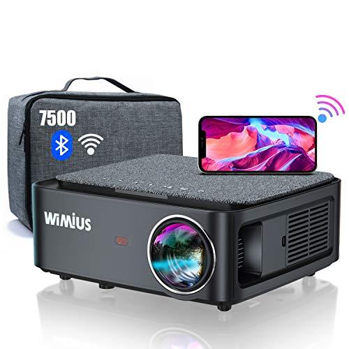 Proyector WiFi Bluetooth Full HD 1080P, 7500 WiMiUS Proyector WiFi 1080P Nativo Soporte 4K Ajuste Digital 4D Función de Zoom Proyector WiFi