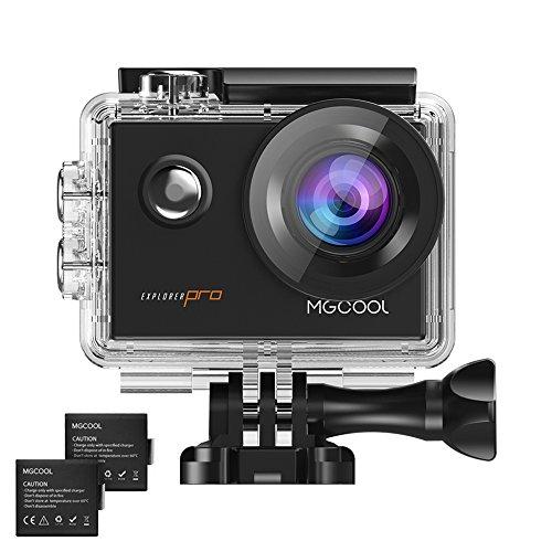 MGCOOL Pro Action Camera Videocámara Deportiva Wifi, 16MP 1080p@60fps Lente Ojo de Pez 170 °Sony Sensor Waterproof 30M Vídeocamara de Acción con (Dos Batería de 1050 mAh) Accesorios Múltiples Negro