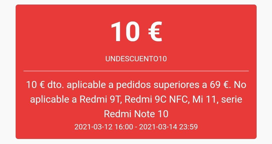 10€ de descuento en compras superiores a 69€