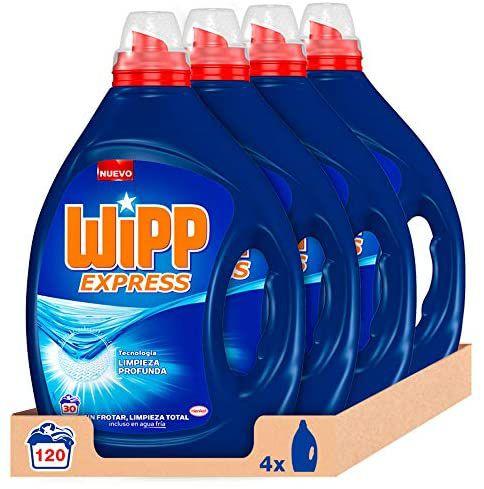 Wipp Express Detergente Líquido Azul - Pack de 4, Total: 120 Lavados(compra recurrente)