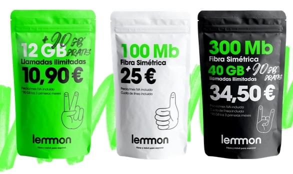 Fibra + 40GB + 90GB promoción y demás tarifas Lemmon