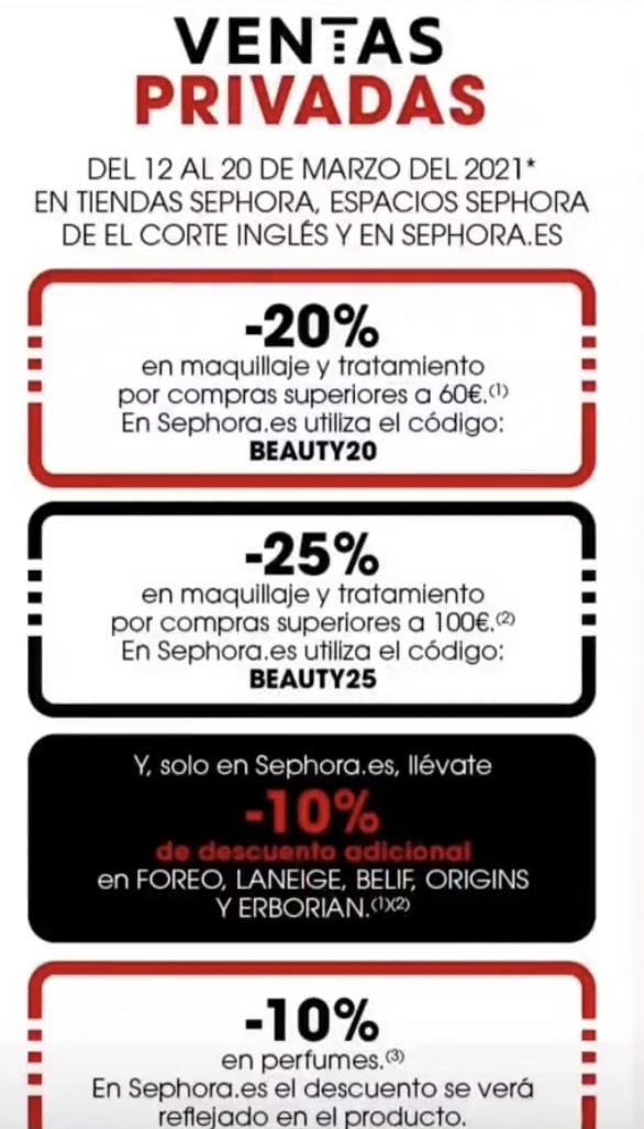 Hasta -25% de descuento maquillaje y tratamiento por Ventas privadas en Sephora