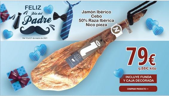 Jamón cebo Nico 50% raza ibérica Salamanca 8 kg pieza - FROIZ