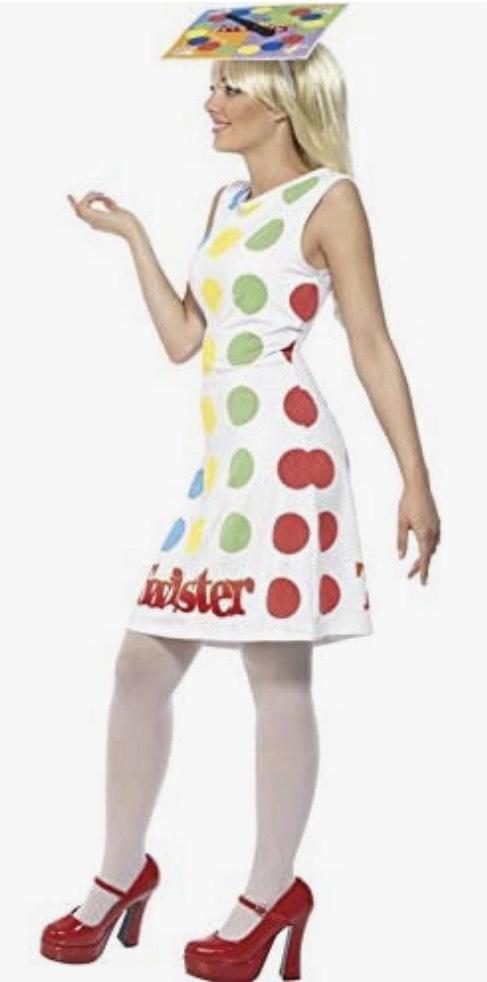 Disfraz de Twister , traje multicolor con vestido y sombrero
